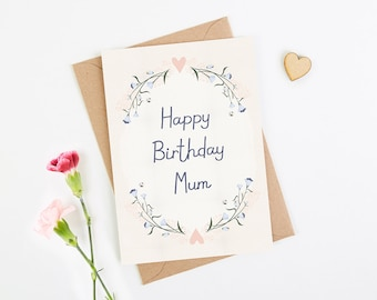 Mum Birthday Card Blush Floral