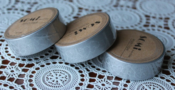 Scrapbook Supplies- 1 roll. Washi Tape.Silver Wedding Hearts - Little Laser Lab