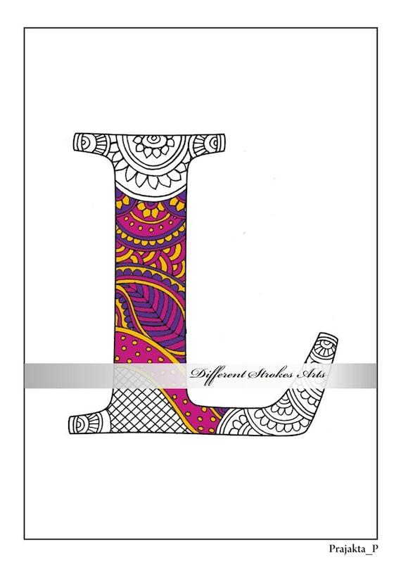 Zentangle Alphabet Malvorlagen Buchstabe L Farbe für