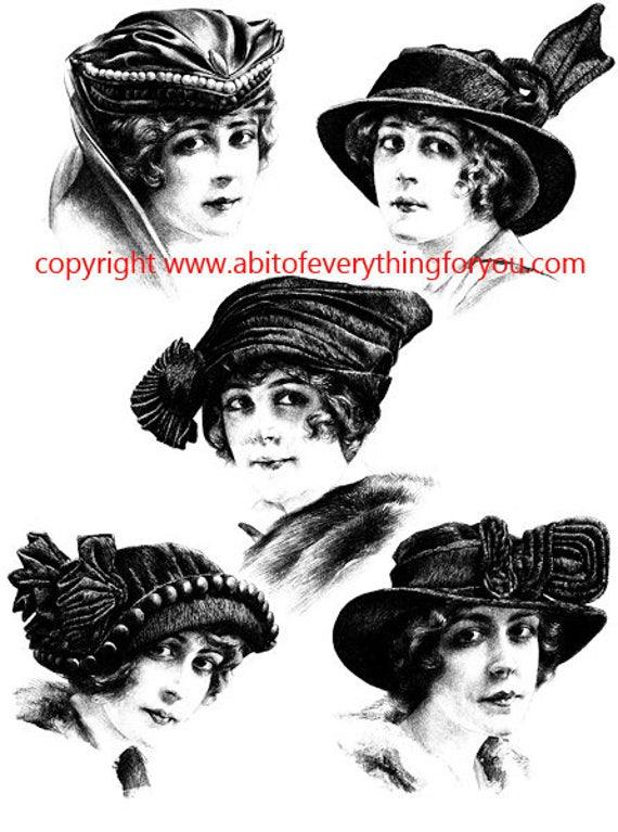 1920s flapper girl hats vintage fashion illustration printable art clipart png digital download image graphics black and white