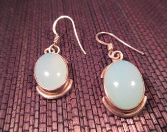 Sterling Silver Mint Green Gemstone Earrings