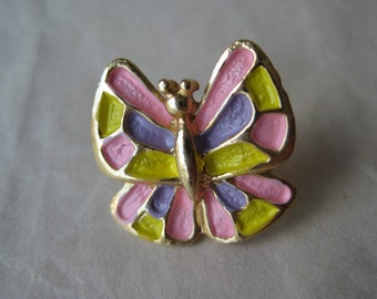 Butterfly Pin Lapel Pink Yellow Purple Gold Brooch Pastel Vintage