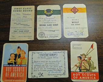 Boy Scout Memorabilia - 6 Registration Cards Etc. From 1950's - Neat Find!