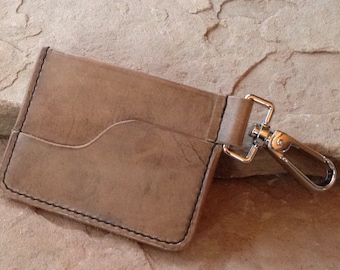 Minimalist Front Pocket Wallet with key clip for Her or Him, Hand Stitched, Great Unisex Design, a Thoughtful Gift