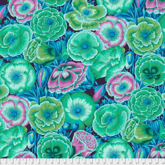 POPPY GARDEN Green Philip Jacobs PWPJ095.GREEN Kaffe Fassett Collective Sold in 1/2 yd increments Pre-Order Item