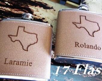 17, Groomsman Flask Set, Groomsmen Gift, Engraved Flask Set, Stainless Steel Flask, Texans Flask // Leather Texas Hip Flasks for Men & Women
