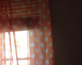 Cool retro curtains.....orange with white polka dots....floor length......semi sheer