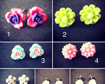 Flower Earrings - handmade resin