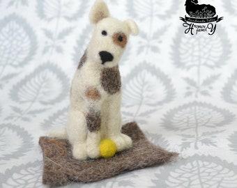 Felted dog Needle felted dog, felted wool animal, pet portrait sculpture, OOAK, Portrait dog Toy Felting rolls miniature pet memorial gifts