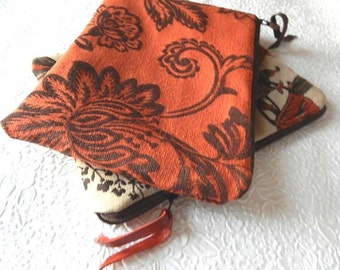 Upholstery pouch, rust multi pouch, ivory multi, zipper pouch, lined clutch, fashion accessory, womens accessory, choose from 2 colors
