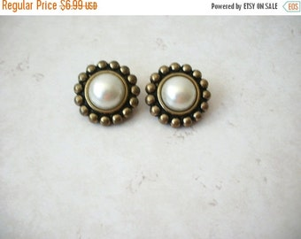ON SALE Vintage 1940s Chunky Brass Faux Pearls Clip On Earrings 8516