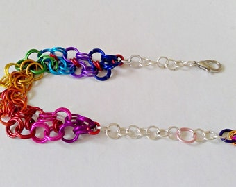 10 Shades! Chainmaille Bracelet - Rainbow, Pride, Colorful, Link Bracelet, Chain Maille