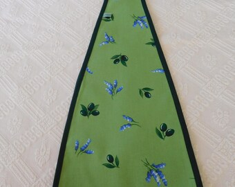 SALE 10% holder trays has hanging cotton fabric print olive and lavender.