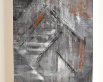 Modern Grey Abstract Acrylic Painting