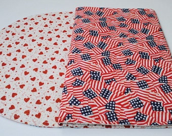 Table Runner for Valentine's Day / 4th of July, Red Hearts / Flags, Reversible, Quilted, Handmade,  49 in. x 14 in.