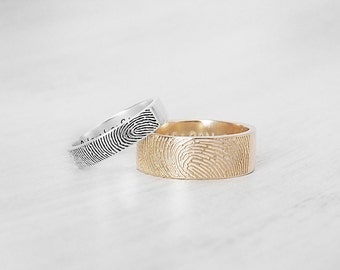 Actual Fingerprint Ring - Personalized Fingerprint Band - Couple Jewelry - Custom Silver Memorial Jewelry - Mother's Day Gifts FR02
