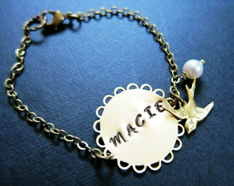 Personalized Antiqued Gold Bracelet with sparrow and pearl charm, customizable, gift, name bracelet, custom bracelet, monogrammed bracelet