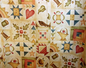 Red Rooster Cotton material - Folk Art - Quilt pattern
