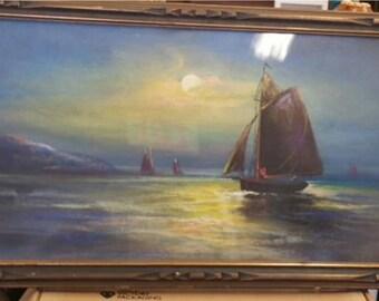 Framed antique seascape original pastel painting signed