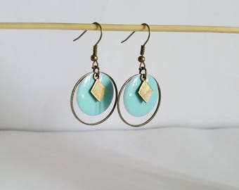 Creole earrings graphic circle and round two-sided mint green enamel