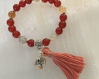 Courage-8mm Carnelian Healing Bracelet with Elephant Totem - Reiki Charged for Healing
