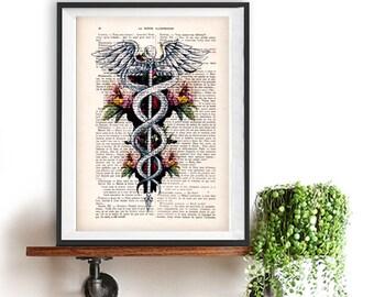 Caduceus Symbol, Medical Art, Medicine, Rod of Asclepius Poster, Doctor Office Art, Doctor Symbol Art Print, Dr. Symbol