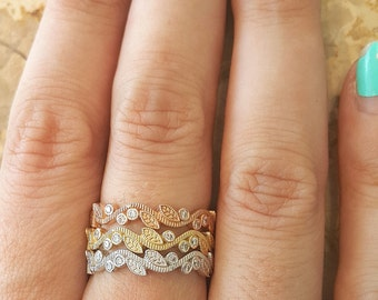 Leaf Engagement Rings, Wedding bands women, Unique engagement ring, Rose gold ring, Unique wedding ring, Promise Ring, Art deco Ring