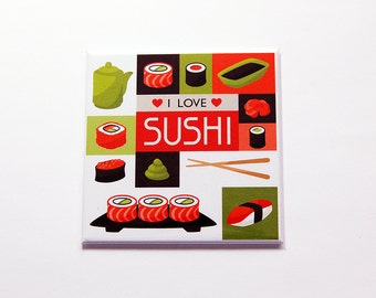 I Love Sushi Magnet, Kitchen Magnet, Fridge magnet, Food Magnet, Sushi Lover, Brown, Orange, Green, sushi, Stocking stuffer (7181)