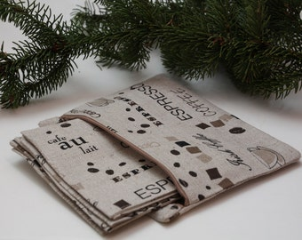 "Set of 8 Linen Coffee Coasters/ Mug Rugs ""Love Coffee"""