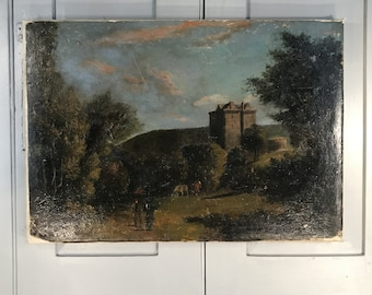 Antique 18th Century oil landscape painting of gentlemen cows and stately home