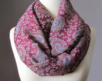 Infinity scarf, Maroon Scarf , red scarf, dark red  infinity scarf, red pashmina