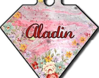 Aladin, médaille pour chien, diamant,médaillon d'identité, personnalisable, Médaille d'identification, animaux de compagnie,double face