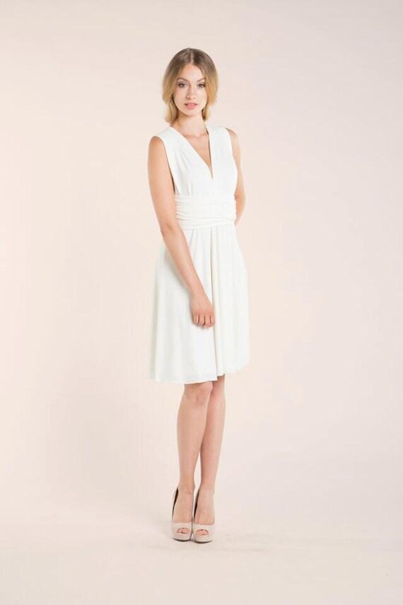 White reception dress short white wrap dress wedding junglespirit Choice Image