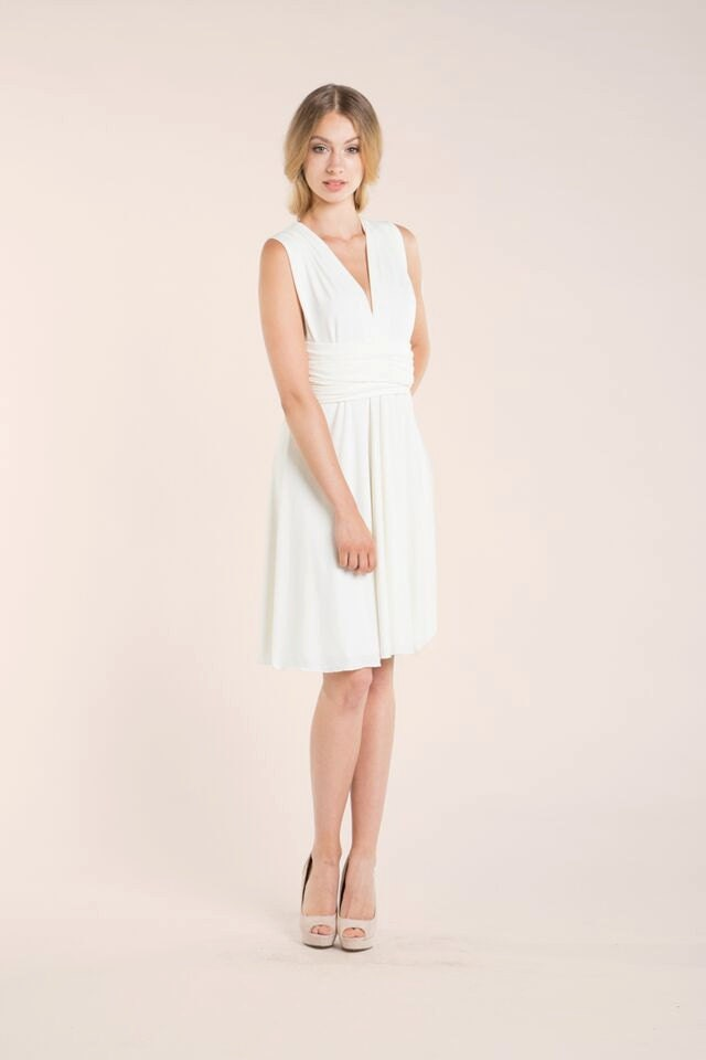 White reception dress short white wrap dress wedding zoom junglespirit Image collections