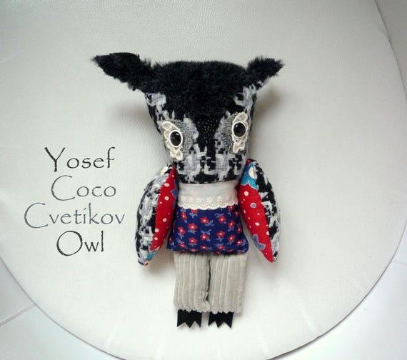 Yosef Coco Cvetikov owl ,soft art textile  creature   by  Wassupbrothers, buho boho friend, stuffed  doll , travel companion, home decor