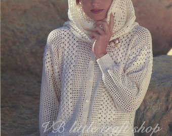 Lady's cardigan and stole crochet and knit pattern. Instant PDF download!