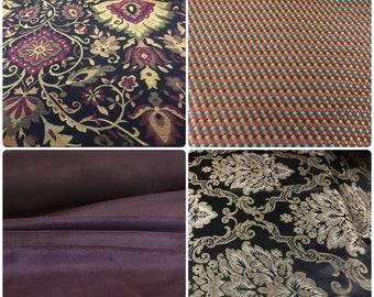 Plum Burgundy Mustard Olive Black Gold Medallion Upholstery Drapery Fabric Velvet Damask Brocade Rusty Red Burgundy Navy Blue Small Scale ST