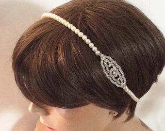 Flapper headband Bridal headband bridal headpiece Art Deco headband headpiece Bridal accessory pearl headband 1920's headband