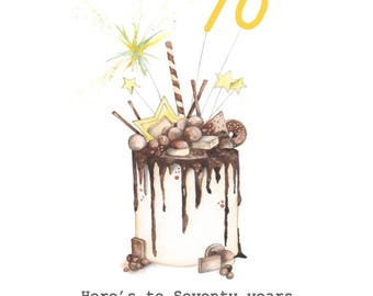 Happy 70th Birthday Cake Embellished Card taken from an Original Watercolour / Notelets / Birthday Cards / Blank Cards