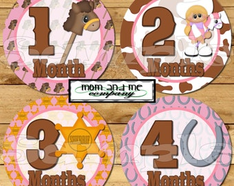 Cowgirl Monthly Baby Stickers Baby girl Shower gift Infant Month Milestone sticker Onepiece Stickers Month to Month baby girl decals western