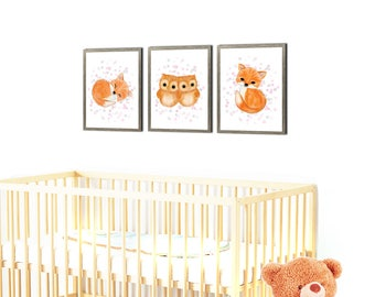 Woodland nursery print set of 3 prints, fox nursery print, baby animals art , nursery decor, children's art, owl nursery, nursery wall art