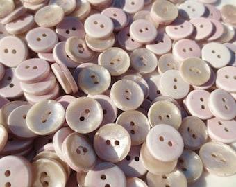 "Buttons Pearlized  5/8"" Plastic Dusty Mauve Rose Pink 2 Hole Bulk Lot 100 grams"