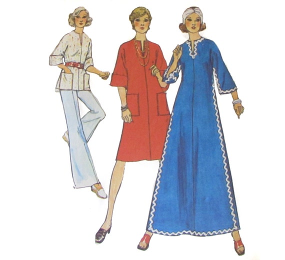 Caftan Sewing Pattern Simplicity 6390 Misses\' Dress, Top, Circa 1970 ...