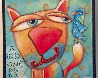 Inspirational block decor - A little Birdy told me