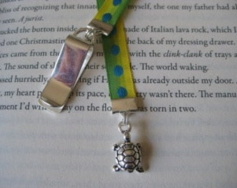 Turtle bookmark / Tortoise Bookmark / Cute Bookmark - Attach clip to cover then mark the page with the ribbon. Never lose your bookmark!