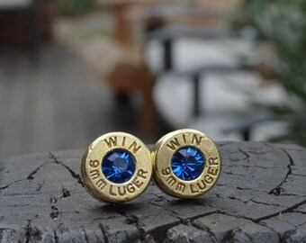 Bullet earrings stud or post, brass/gold Winchester 9mm Luger Handcrafted with Swarovski crystals