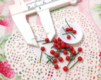 Sprinkles Topping - 4mm Cherry Fake Topping Miniature Food - 20pcs For Sweet Deco Dollhouse