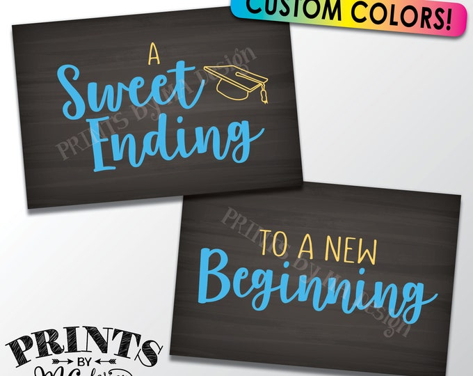 "A Sweet Ending to a New Beginning Graduation Party Signs,  Sweet Treats, Grad Party Favors, Two Chalkboard Style PRINTABLE 4x6"" Signs"