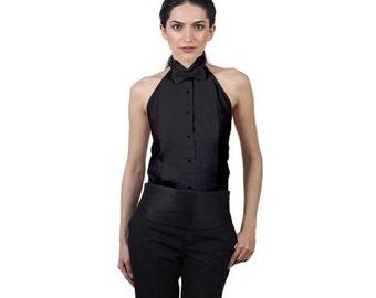 Women's Black Tuxedo Halter Shirt