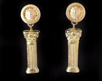 BOLD and gold greek column with apollo medallion clip on starement earrings versace inspired